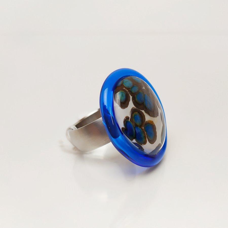Ring blau - elfenbein