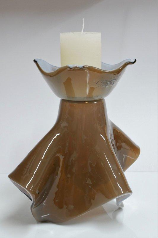 2 in 1 - Vase und Kerzenständer braun