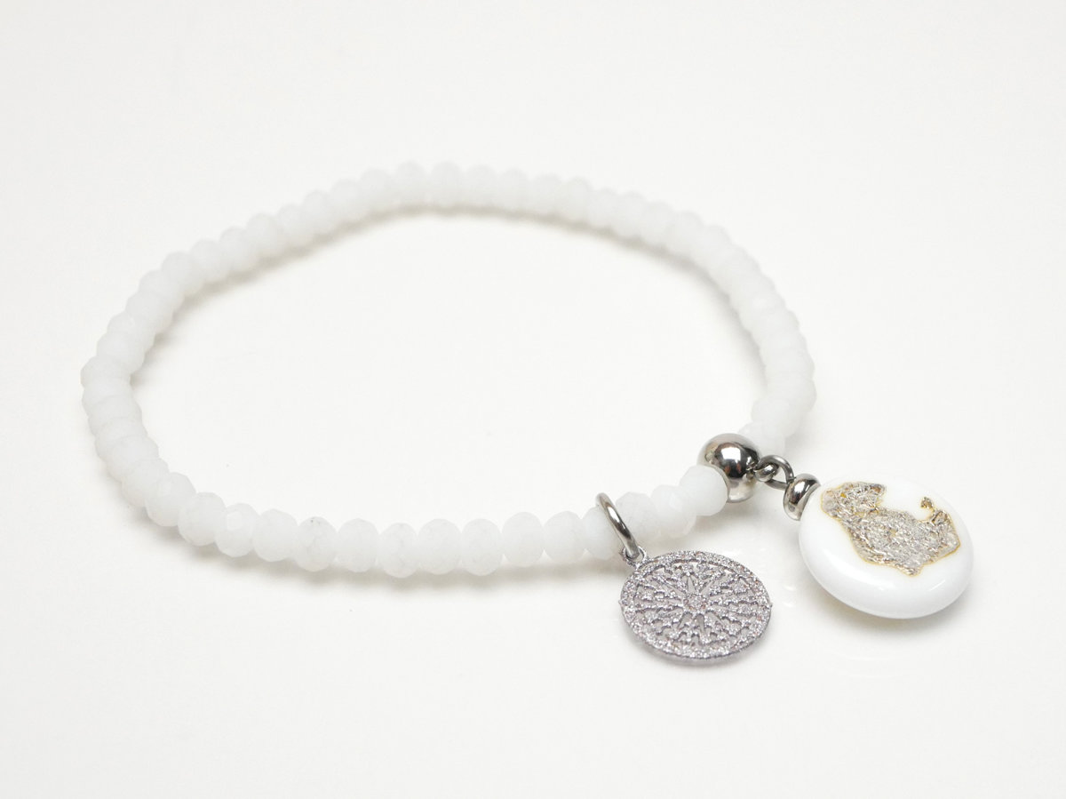 braccialetto bianco-argento