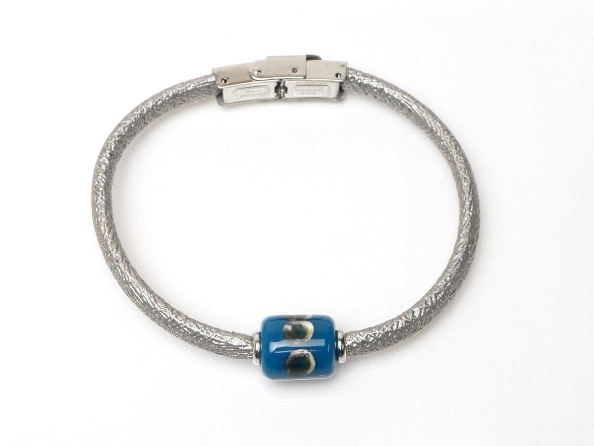 braccialetto argento-petrolio