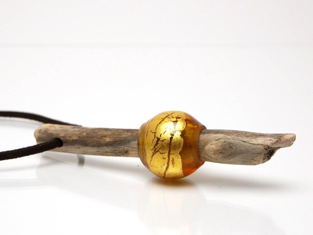 Kette Treibholz und Glas gold