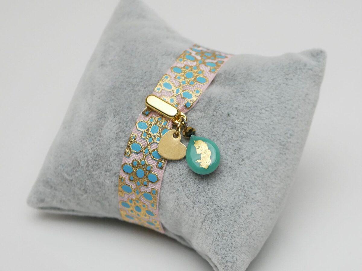 Elastisches Armband rosa-türkis-gold