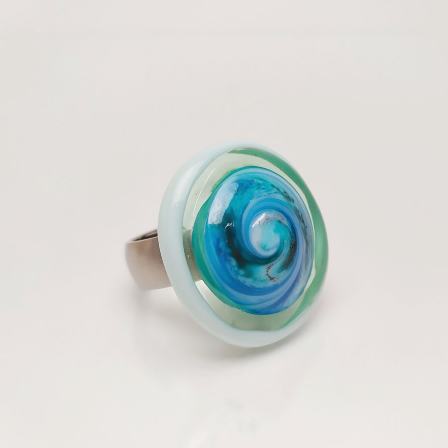 Ring acqua Spirale
