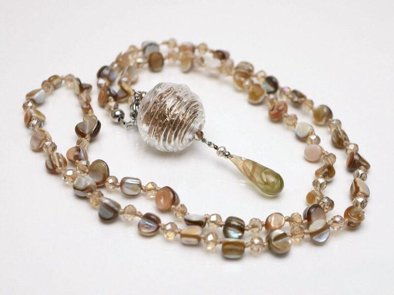 Halskette Perlmutt - Glas
