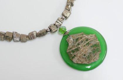 Kette Pyrit und Glas